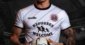 Bohemians' away jersey for the coming season. Photograph: @bfcdublin