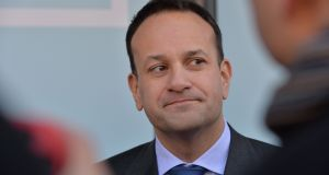 Taoiseach Leo Varadkar speaking to media outside the European Financial Forum 2020 at Dublin Castle. Photograph: Alan Betson.