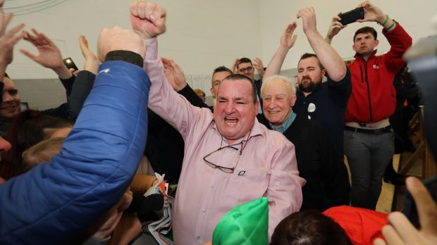 Martin Browne celebrates his election victory at the count centre in Thurles. Photograph: John D Kelly