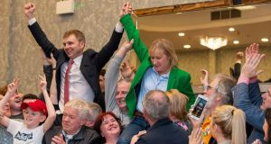 Sinn Féin's Ruairi Ó Murchú and Imelda Munster are elected on the first count in Louth. Photograph: Ciara Wilkinson