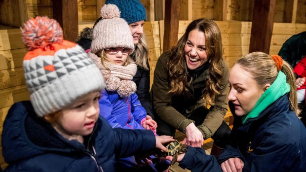 Duchess of Cambridge Kate Middleton reacts as she helps children bottle-feed a lamb during her visit to Ark Open Farm near Belfast on Wednesday. Photograph: Liam McBurney/ AFP