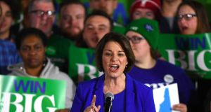 Democratic presidential candidate senator Amy Klobuchar  at her New Hampshire primary: her surprise third-place performance was one of the takeaways from it.  Photograph: Gretchen Ertl/Reuters