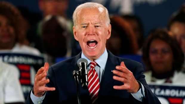 Former vice president Joe Biden's early departure from New Hampshire to instead attend a campaign event in South Carolina underlines how his entire campaign is now hinging on the southern state. Photograph: Randall Hill/Reuters