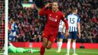 Liverpool's Virgil van Dijk after scoring in a league match against Brighton at Anfield on November 30th. Photograph: Clive Brunskill/Getty Images
