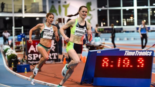 Ciara Mageean en-route to victory in the 3,000m in Athlone. Photograph: Sam Barnes/Sportsfile