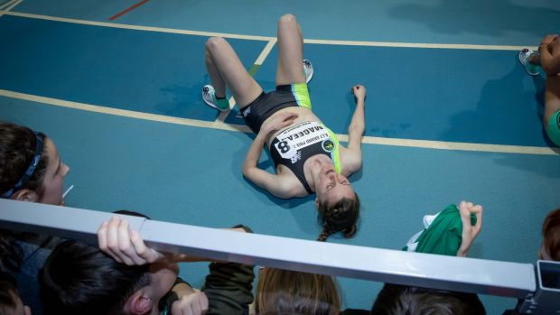Ciara Mageean after her 3,000m victory in Athlone. Photograph: Morgan Treacy/Inpho