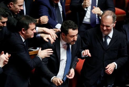 Leader of Italy's far-right party Matteo Salvini is applauded after his speech at the Senate ahead of a vote on whether to pursue an investigation against him that could give rise to a trial for alleged kidnapping of migrants, in Rome, Italy February 12, 2020. Photograph : Guglielmo Mangiapane / Reuters