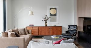 At home with Dermot Bannon: A teak sideboard with Rosewood handles designed by Ib Kofod Larsen for UK company G Plan in 1964 and supplied by The Vintage Hub – Mid-Century Online. Photograph: Ruth Maria
