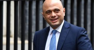 Sajid Javid on his way to meet Boris Johnson in London on Thursday. Photograph:  Leon Neal/Getty Images
