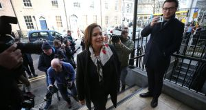 Mary Lou McDonald going into a party meeting in Buswells Hotel. Photograph: Nick Bradshaw