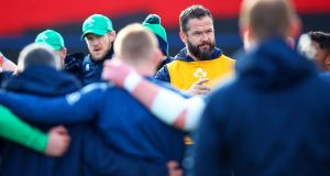 Ireland head coach Andy Farrell addresses players during the joint senior and under-20 training session at Musgrave Park in Cork on Thursday. Photograph: Tommy Dickson/Inpho
