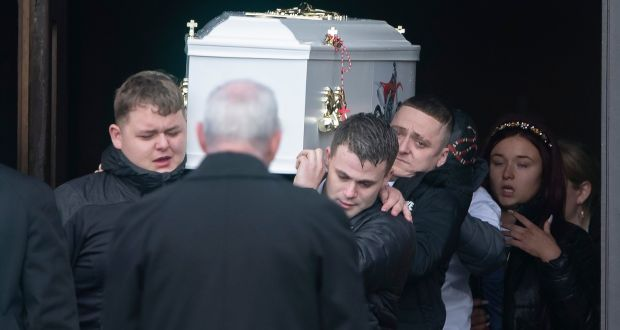 The remains of Keane Mulready Woods                               leave The Church of the Holy Family after                               his funeral Mass. Photograph: Collins                               Dublin