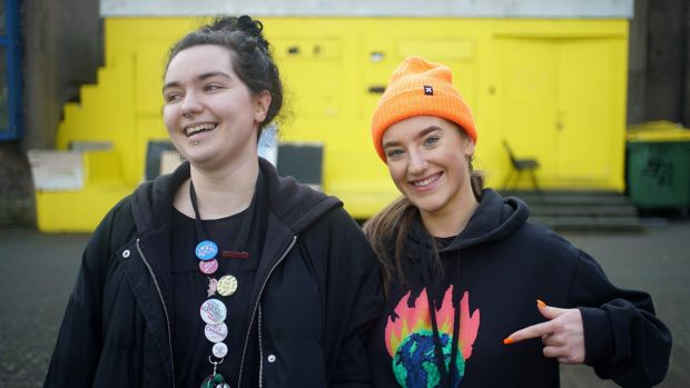 UCD students Caelainn Kerrigan and Megan Hand. Students were 'really, really engaged' in the election. Photograph: Enda O'Dowd/The Irish Times