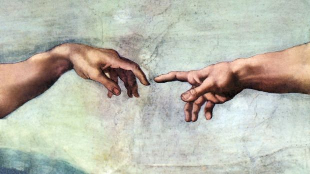 Michelangelo Buonarroti's Creation of Adam (pigment applied to wet plaster), which was painted onto the ceiling of the Sistine Chapel between 1508 and 1512.