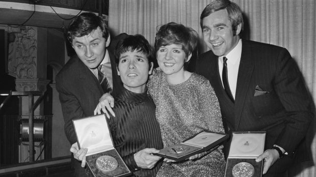 Cilla Black with Phil Coulter, Cliff Richard music publisher Bill Martin celebrate the winning of song Congratulations at A Song for Europe in March 1968. Photograph: John Downing/Daily Express/Getty Images
