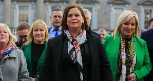 Sinn Féin leader Mary Lou McDonald at Leinster House on Thursday. Photograph: Gareth Chaney/Collins