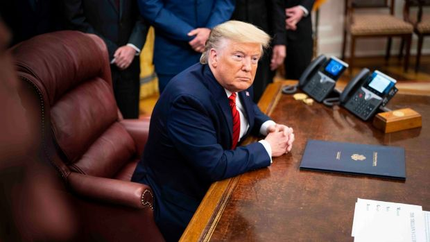 President Donald Trump: re-election campaign has more than $200 million cash on hand, having raised more than $525 million since the beginning of 2019. Photograph: Doug Mills/New York Times