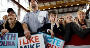 Supporters of Democratic presidential candidate Michael Bloomberg at a campaign event in Raleigh, North Carolina, on February 13th. Photograph: Jonathan Drake