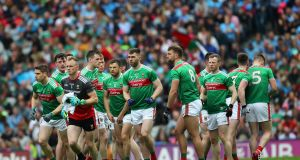 The Mayo team. Photograph: James Crombie/Inpho