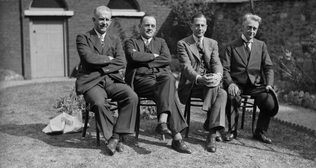 September 10th, 1933: President of the United Ireland Party Eoin O'Duffy with James Dillon, Mr McDermot and the Vice President, William Thomas Cosgrave. Photograph: Keystone/Getty Images