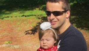 Shane Burns with his daughter  Lexie, who is now seven