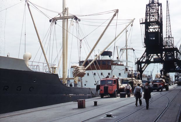 Cargo being unloaded. Photograph: Dublin Port Company Archive