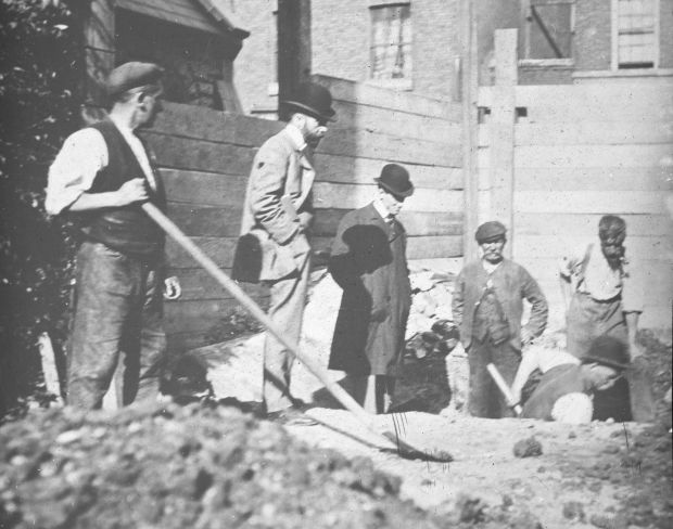Digging continues as another grave is exhumed at St Peter's. Photograph: Representative Church Body Library/Colin O'Riordan