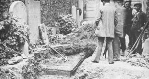Men survery the scene of the dig at the Emmet family plot in St Peter's Chruch in Dublin in 1903. Photograph: Representative Church Body Library/Colin O'Riordan