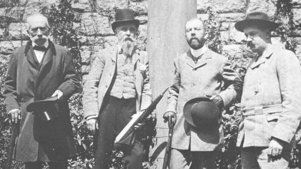From left is Dr Thomas Addis Emmet, Robert's great-nephew, James Franklin Fuller and two unidentified men. Photograph: Representative Church Body Library/Colin O'Riordan