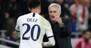 "Jose Mourinho and Tottenham midfielder Dele Alli: ""He immediately regretted and realised it was a young guy mistake, a young generation mistake,"" said Mourinho. Photograph:  Craig Mercer/MB Media/Getty Images"
