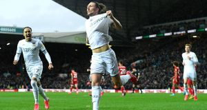 Luke Ayling of Leeds United celebrates after scoring his side's fwinner during the Championship clash with Bristol City. Photo: George Wood/Getty Images
