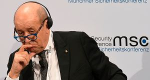 French foreign minister Jean-Yves Le Drian is pictured at the Munich Security Conferenceon Sunday. Photograph: Christof Stache/AFP via Getty Images.