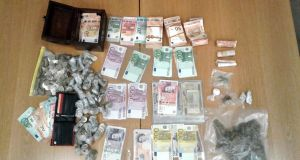 Cash and drugs haul seized by Garda in 2018. Photograph: PA