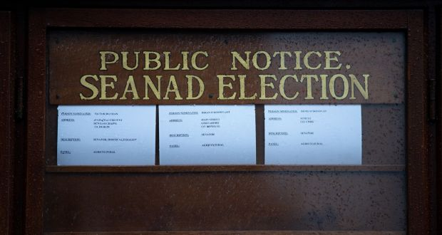 Notice of Seanad elections in Leinster House. Photograph: Tom Honan