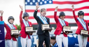 Team USA's Margie Goldstein-Engle, Laura Kraut, Chef d'Equipe Robert Ridland, Beezie Madden and Jessica Springsteen claimed the Longines FEI Jumping Nations Cup at the opening round of the 2020 series at Deeridge Farm in Wellington. Photograph: Shannon Brinkman/FEI