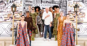Paul Costelloe with models wearing designs from his autumn/winter 2020 collection