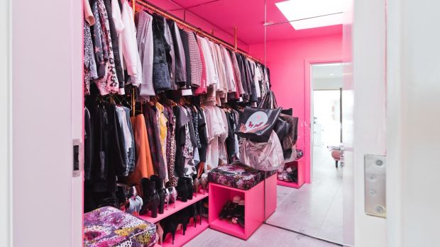 The shocking pink dressing room.