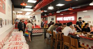 Five Guys operates four outlets around Dublin at South Great George's Street, Blackrock, Swords and Dundrum shopping centre. Photograph: Aidan Crawley