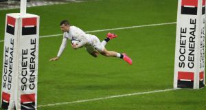 Jonny May of England scores a try during the 2020 Six Nations clash with France. Photo: Xavier Laine/Getty Images