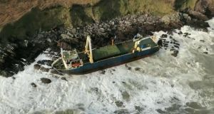 The MV Alta  washed up on the Cork coast during Storm Dennis over the weekend. Photograph: Irish Coast Guard/PA Wire