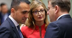 Italy's  Luigi Di Maio, Bulgaria's Ekaterina Zaharieva and European commissioner in charge of neighbourhood and enlargement policy Hungary's Oliver Virelay at a foreign ministers meeting in Brussels on February 17th. Photograph:  Francois Walschaerts/AFP