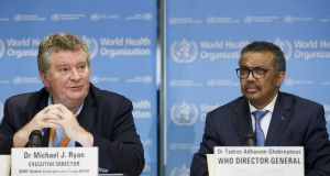 From left, Michael Ryan, director of WHO's health emergencies programme, and Dr Tedros Adhanom Ghebreyesus, director general of the WHO, at a press conference in Geneva, Switzerland. Photograph: EPA/Salvatore Di Nolfi