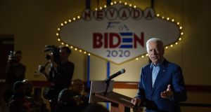 Democratic presidential candidate Joe Biden: faces strong pressure to perform well in Nevada, as his campaign struggles with a worse-than-expected outcome in Iowa and New Hampshire. Photograph: Bridget Bennett/New York Times