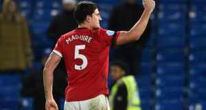 Manchester United's Harry Maguire celebrates after the Premier League win over Chelsea at Stamford Bridge. Photo: Glyn Kirk/AFP via Getty Images