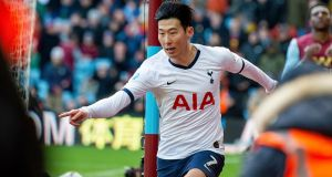 Tottenham Hotspur's Son Heung-Min celebrates scoring the winner against Aston Villa. Photo: Photo: Peter Powell/EPA