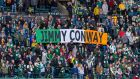 Portland Timbers  supporters unveil a flag in tribute  to their former player Jimmy Conway ahead of the game against  the Vancouver Whitecaps at Providence Park in Portland last Saturday. Photograph: Diego Diaz/Icon Sportswire via Getty Images