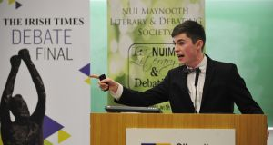 Team winner Hugh Guidera from TCD Phil during the Irish Times Debate Final in 2015 held at Maynooth University. Photograph: Aidan Crawley