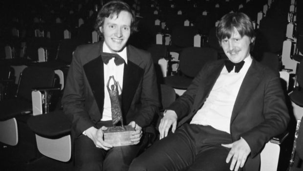 Eugene McCague (left) and Maurice Biggar, of the Literary & Historical Society, UCD, winners of The Irish Times debating competition in 1980. Photograph: Peter Thursfield
