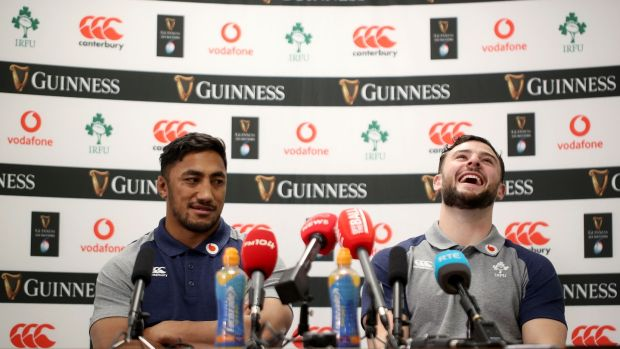Bundee Aki and Robbie Henshaw at the Ireland Rugby press conference at the Sport Ireland campus in Blanchardstown, Dublin on Tuesday. Photograph: Dan Sheridan/Inpho