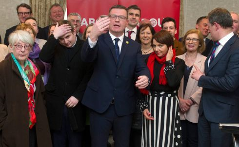 Alan Kelly TD (centre) with other members of the Labour Party in Buswells Hotel Dublin where he announced his candidacy for the leadership. Photograph: Aidan Crawley/For the Irish Times
